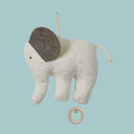Jucarie muzicala elefant alb bumbac orgnic