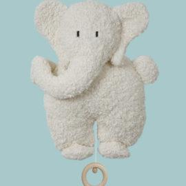 Jucarie muzicala elefant alb cu urechi gri bumbac orgnic