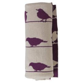 Păturică Tricotată cu Păsări din Bumbac Organic